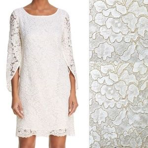 NWT Nanette Lepore White & Gold Floral Lace Dress